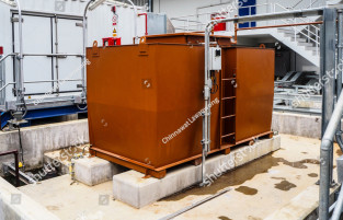 stock photo oil tank for emergency diesel generator in power plant 1030044955