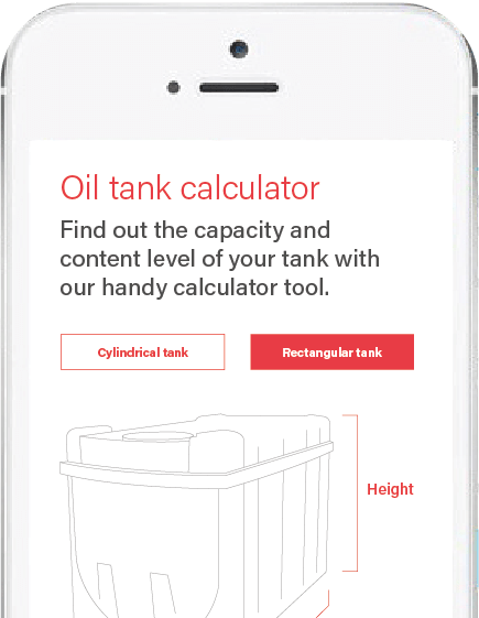 Mobile phone displaying the oil tank calculator